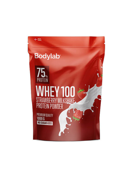 Bodylab whey 100 strawberry and milkshake in a resealable packaging of 1000g