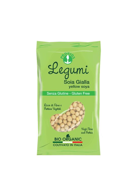 Probios organic yellow soy in a 400g packaging