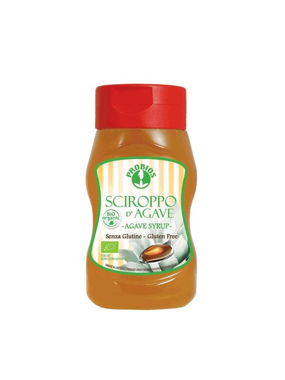 Probios gluten free agave syrup in a dispensing bottle of 380g