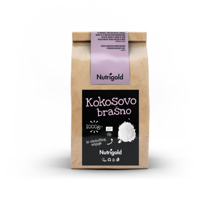 Nutrigold organic coconut flour in a packaging of 1000g