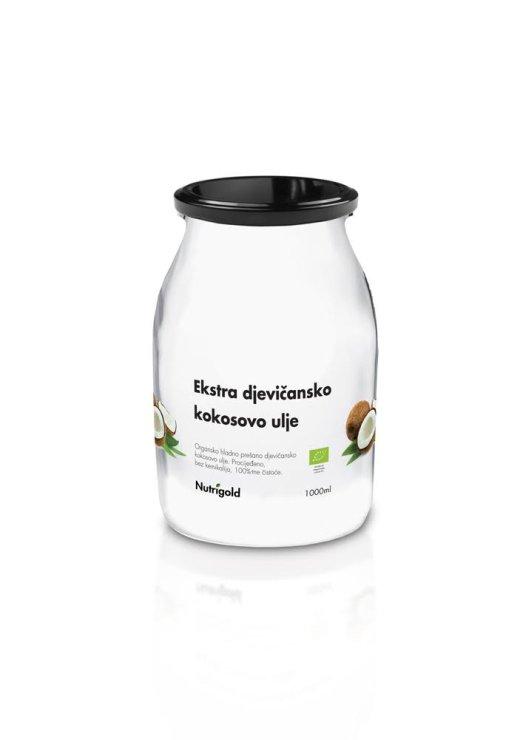 Nutrigold organic extra virgin coconut oil in a jar of 1000ml