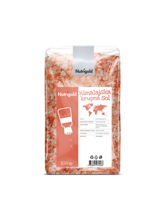 Nutrigold Himalayan coarse salt in a transparent packaging of 1000g