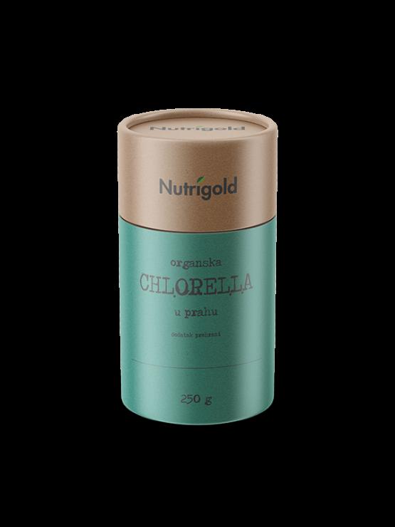 Nutrigold organic chlorella powder in cylinder shaped packaging of 250g