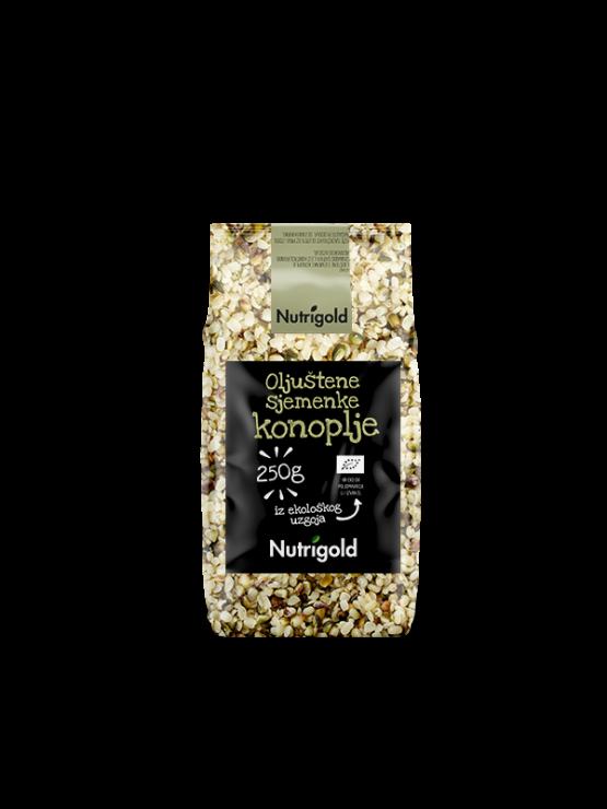 Nutrigold organic hulled hemp seeds in a packaging of 250g