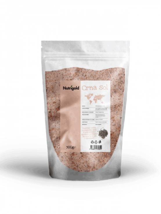 Nutrigold Kala Namak black salt in a packaging of 500g