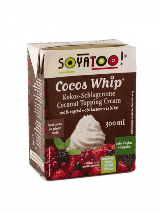 Soyatooo coconut whipping cream in a cardboard packaging of 300ml