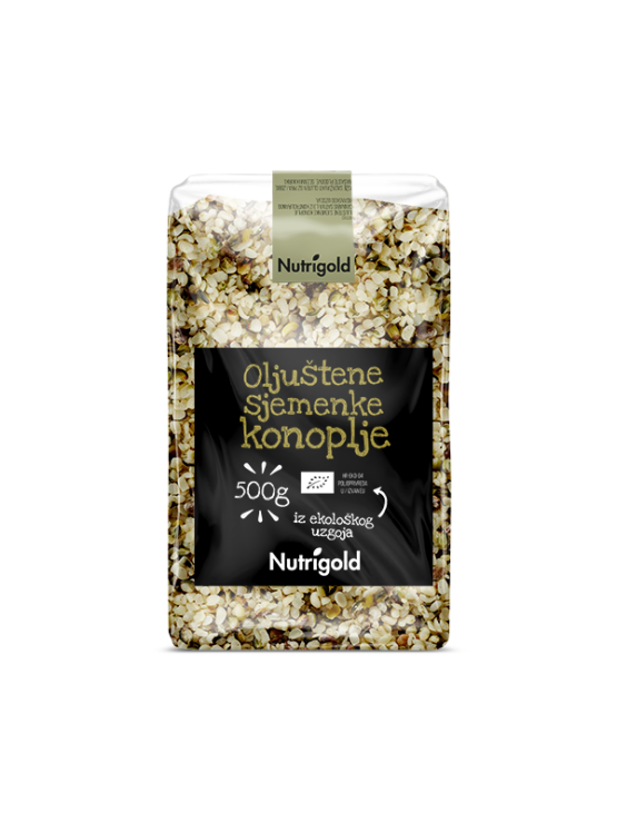 Nutrigold organic hulled hemp seeds in a transparent packaging of 500g