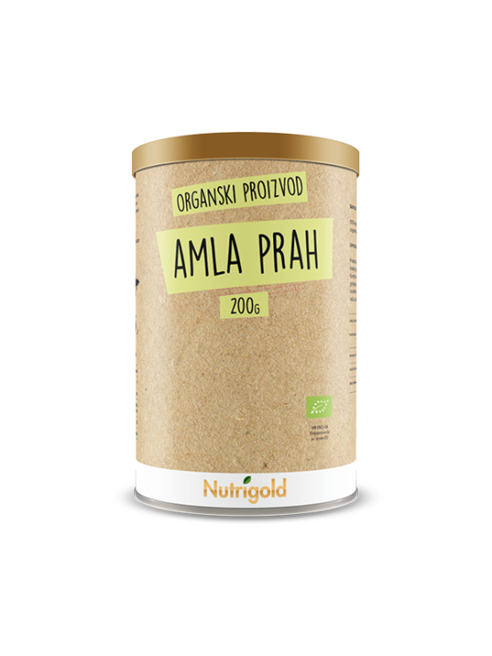 Nutrigold amla powder organically cultivated in a brown container of 200 grams