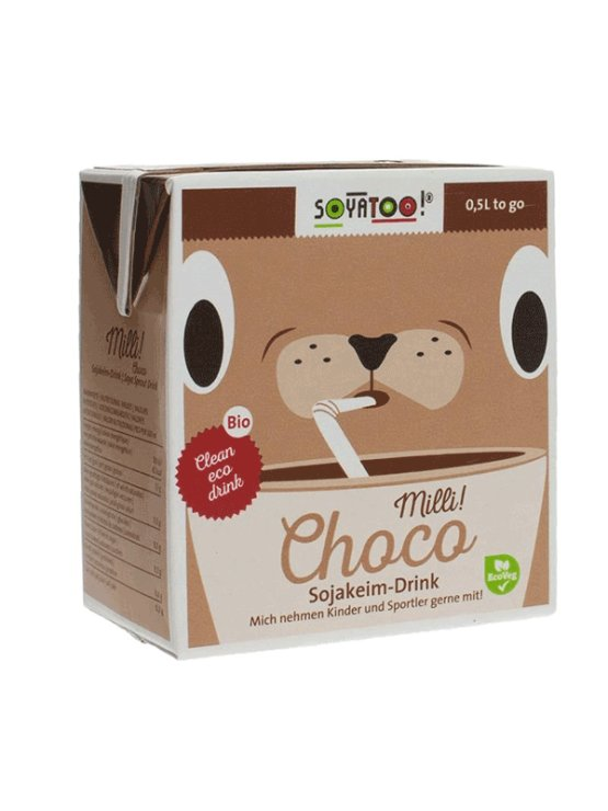 Soyatoo chocolate soy drink in a convenient 500ml packaging with a straw