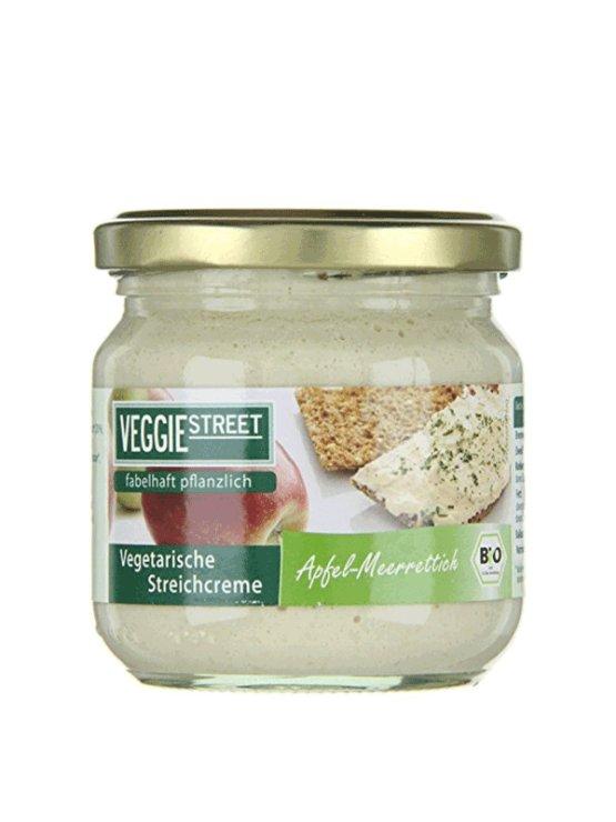 Veggie street organic apple and horseradish spread in a 180g glass jar