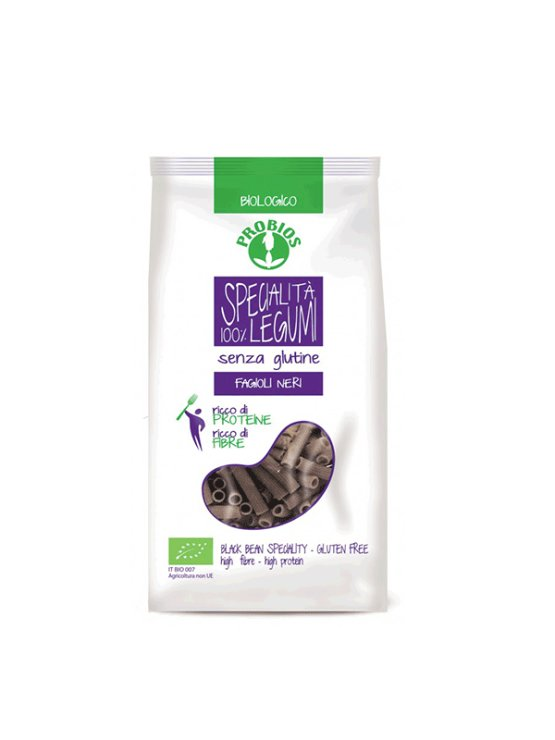 Probios organic black bean pasta rigati in a packaging of 250g