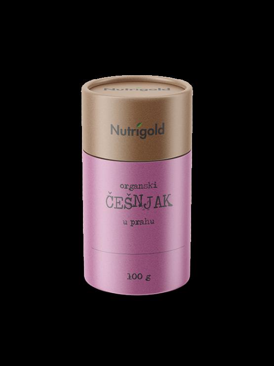 Nutrigold organic garlic powder in cardboard cylinder shaped packaging 100g