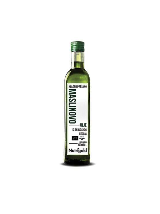 Nutrigold organic extra virgin olive oil in a bottle of 500ml