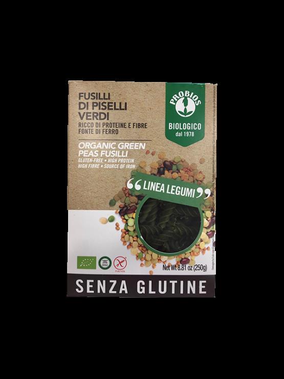 Probios organic green pea fusilli pasta in a 250g packaging