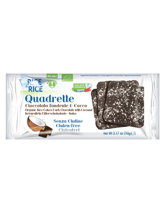 Probios organic cocoa and coconut rice quadretti in a packaging of 100g