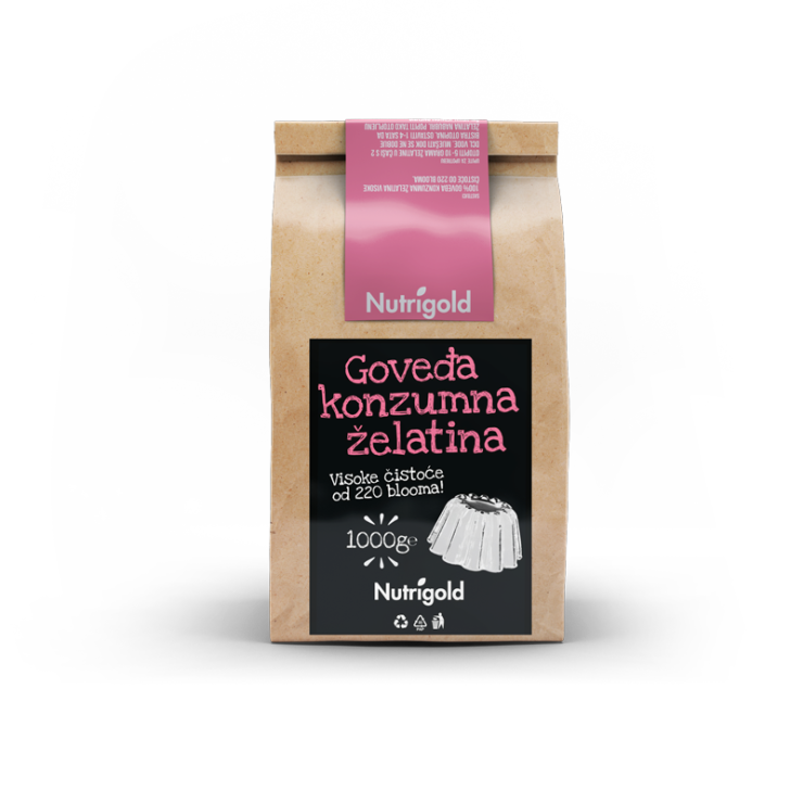 Nutrigold beef gelatin powder in a packaging of 1000g