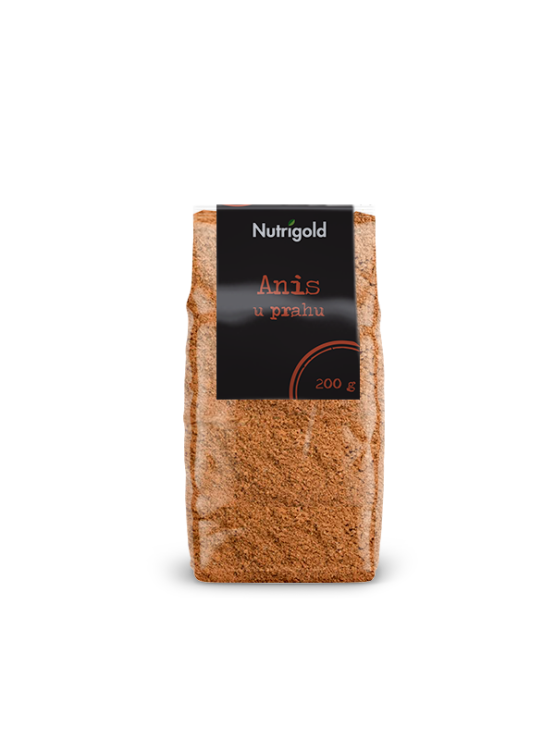 Nutrigold anise powder in a transparent plastic bag of 200 grams