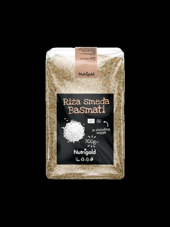 Nutrigold organic brown basmati rice in a transparent, plastic bag of 500 grams