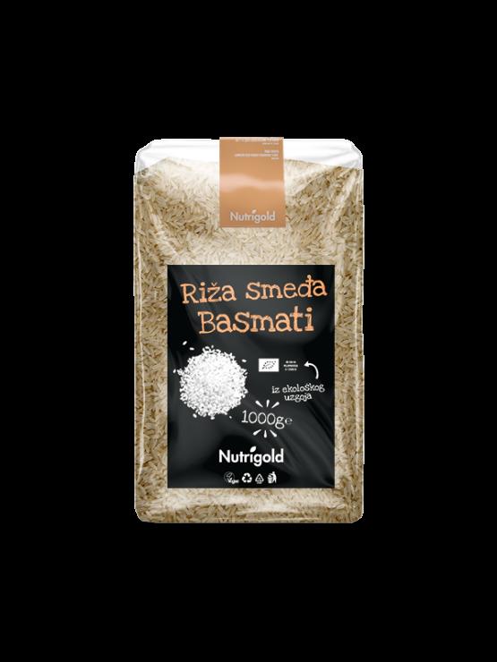 Nutrigold brown basmati rice in a transparent, plastic bag of 1000 grams
