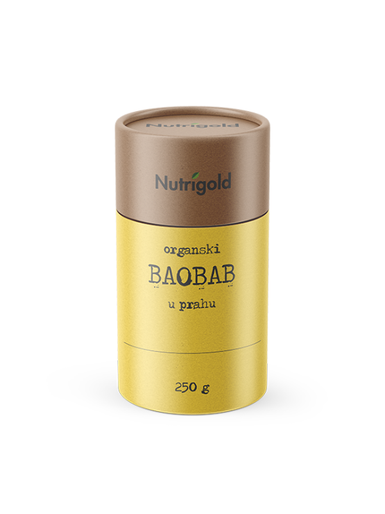 Organic Baobab powder in a yellow cylindrical container, 250 grams