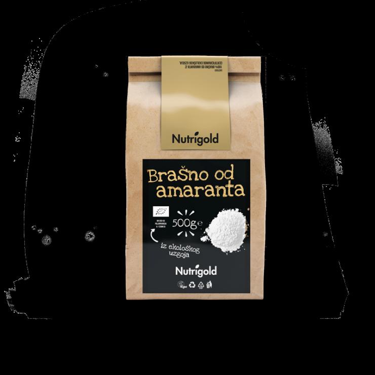 Nutrigold organic Amaranth flour in a brown packaging of 500 grams