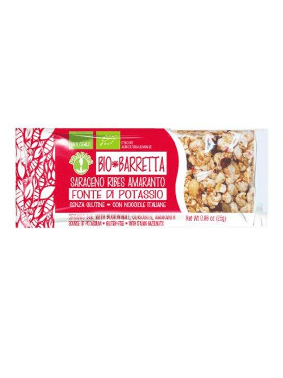 Probios organic buckwheat, black currant and amaranth energy bar in a 25g packaging