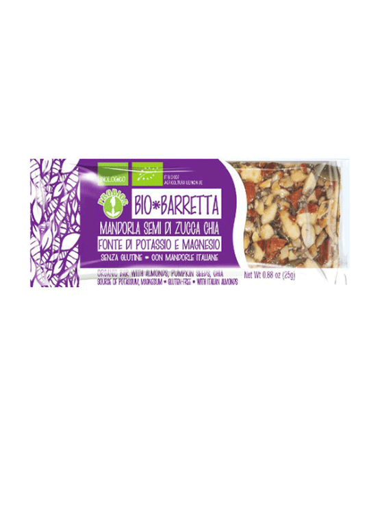 Probios organic almond, pumpkin seed and chia energy bar in a 25g packaging