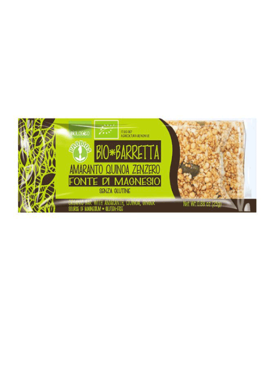 Probios organic amaranth, quinoa and ginger energy bar in a 25g packaging