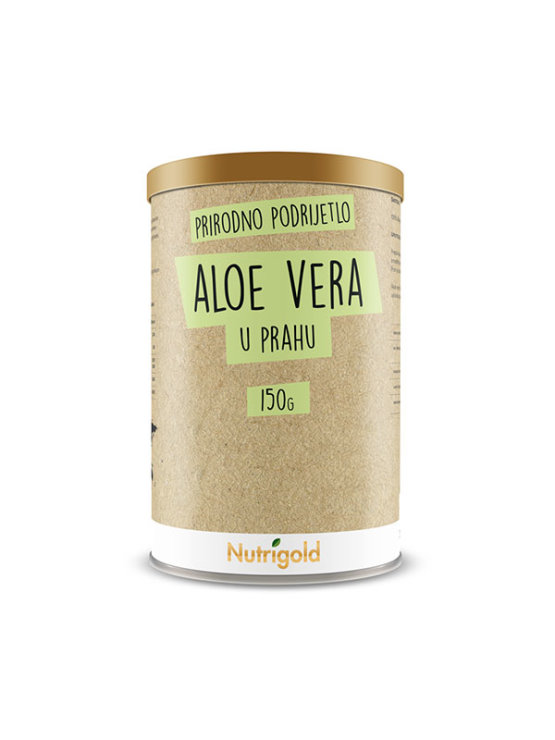 Naturally cultivated Nutrigold aloe vera powder in a  brown container of 150 grams