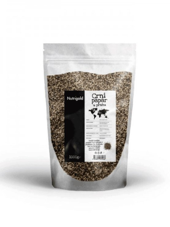 Nutrigold black pepper powder in a packaging of 1000g