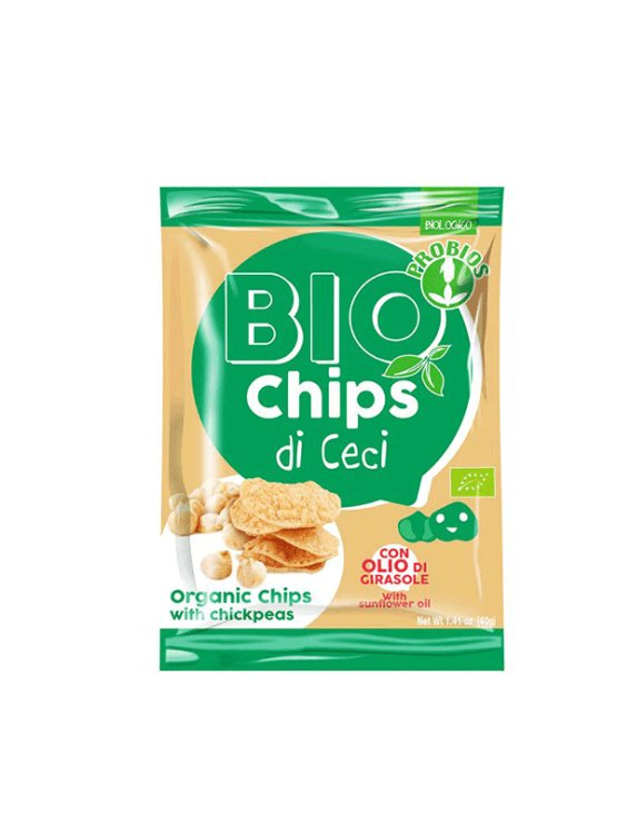 Probios organic chickpea chips in a 40g packaging.