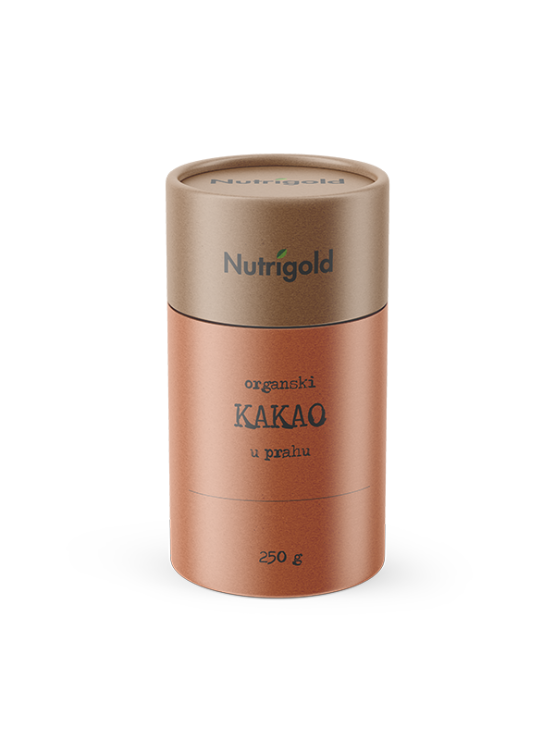 Nutrigold organic cocoa powder in a cylinder shaped cardboard packaging of 250g