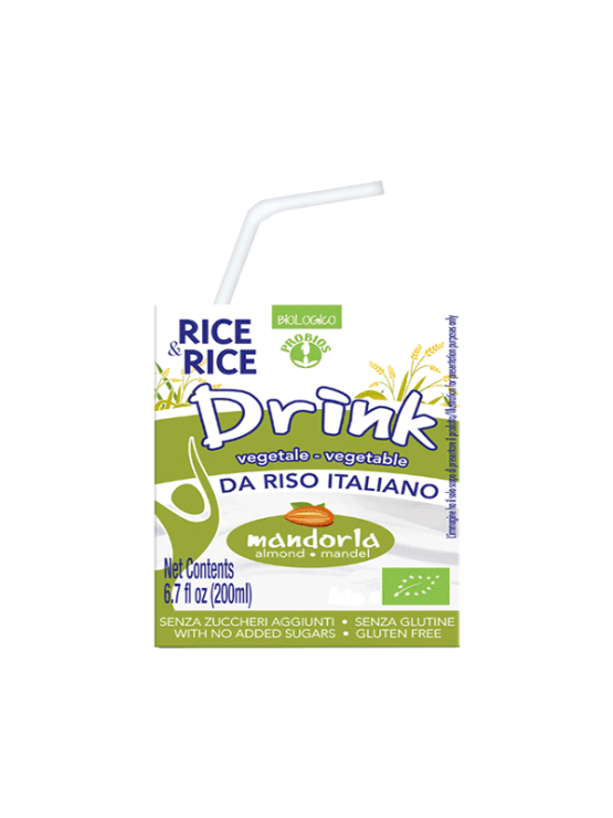 Probios organic almond rice drink in a 200g tetra-pak packaging