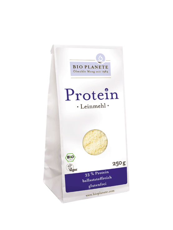 Bio Planete organic linseed protein flour in a packaging of 250g