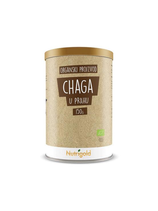 Organic Chaga powder from Nutrigold in cylinder shaped packaging box 150g
