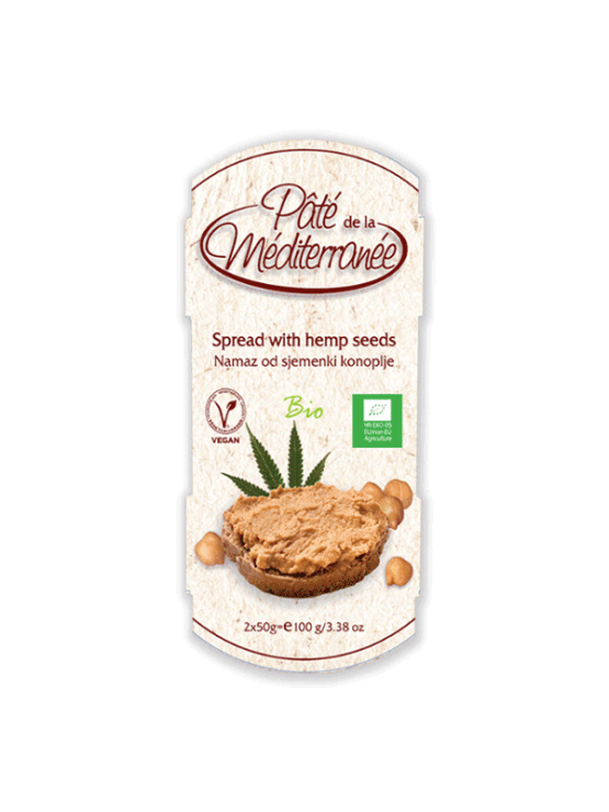 Vegetariana organic chickpea spread with hemp in a 100g packaging