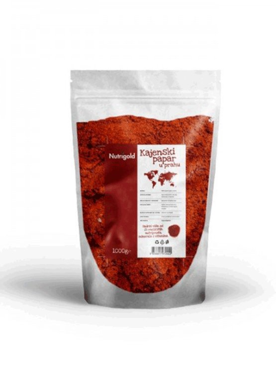 Nutrigold Cayenne pepper powder in XXL packaging containing 1000g