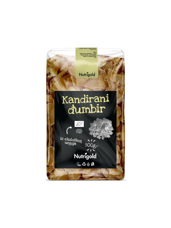 Nutrigold organic candied ginger in a transparent packaging of 500g