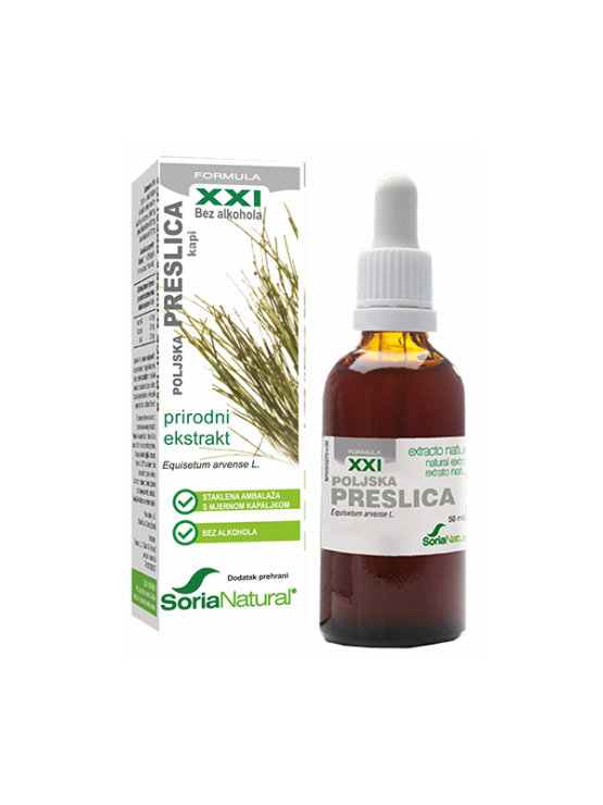 Soria Natural field horsetail drops in a 50ml glass bottle with a dropper