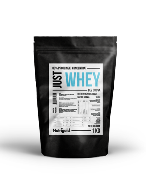 Nutrigold Just Whey Concentrate 80% in black packaging of 1kg