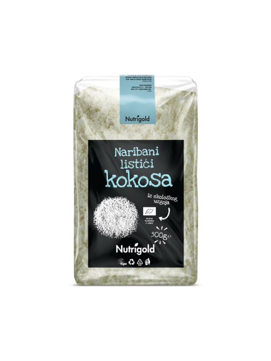 Nutrigold organic desiccated coconut in a packaging of 500g