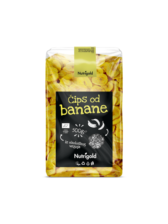 Nutrigold organic banana chips in a 500g transparent packaging