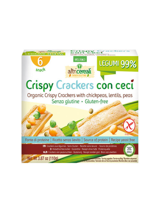 Probios organic crispy chickpea crackers in a packaging of 110g