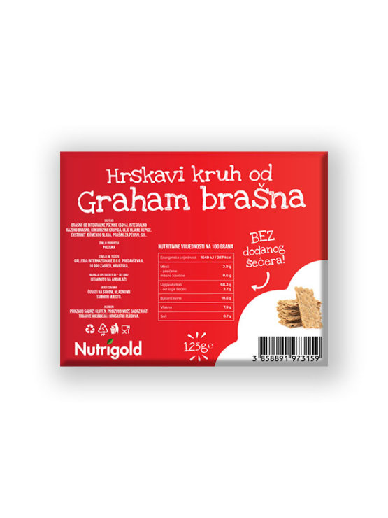 Nutrigold graham crispbread with no added sugar in a packaging of 125g