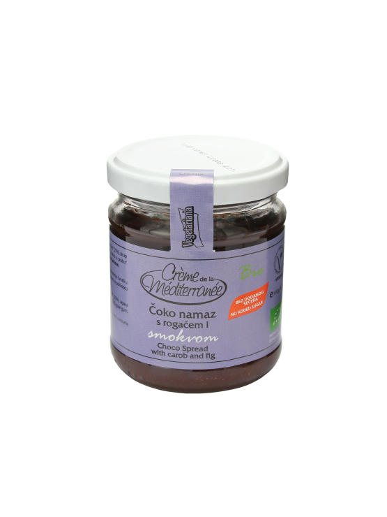 Vegetariana organic choco spread with carob and fig in a glass jar of 190g