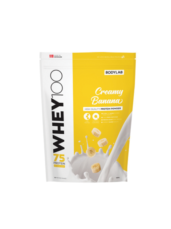 Bodylab whey 100 creamy banana in a packaging of 1kg