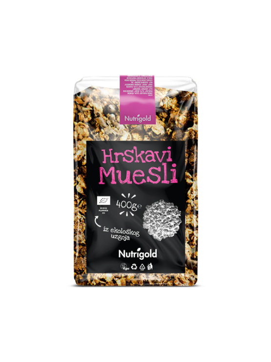 Nutrigold organic crunchy muesli in a transparent packaging of 400g