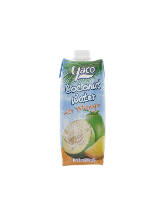Yaco coconut water with mango in a beverage carton of 500ml