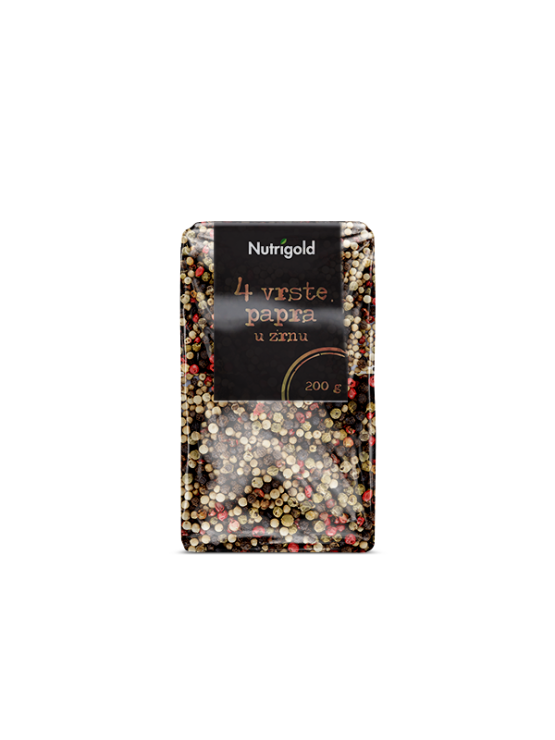 Nutrigold four peppercorn blend in a packaging of 200g