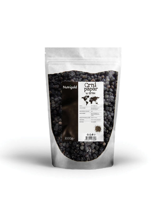 Nutrigold black peppercorns in a packaging of 1000g